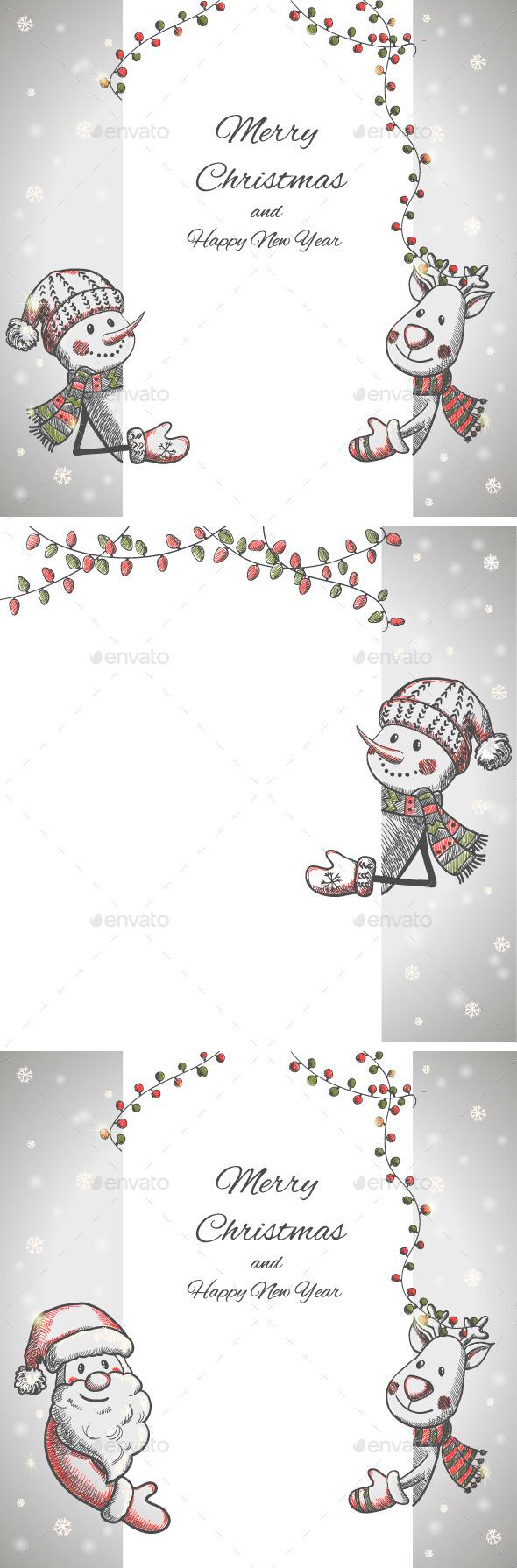 GraphicRiver Set of Three Hand Drawn Christmas Cards 9774647