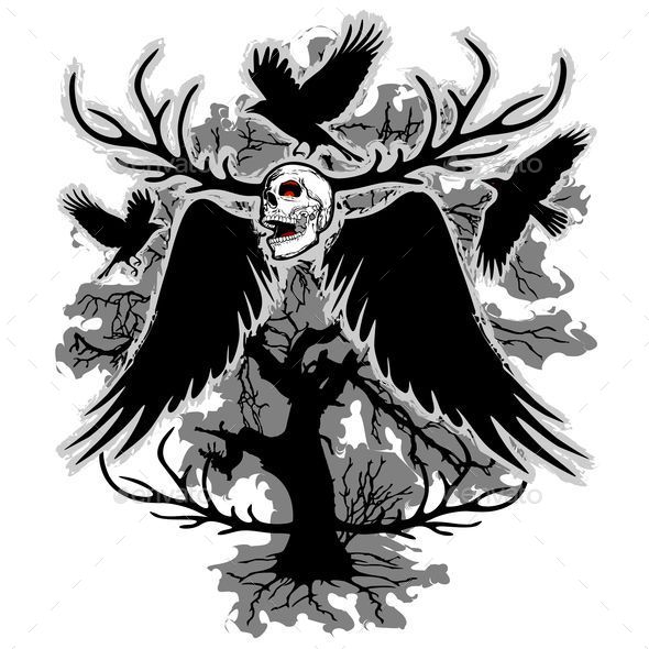GraphicRiver Nightmare Skull and Crows 9774699