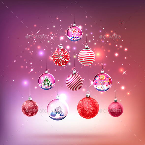 GraphicRiver Crystal Glass Baubles Set 9774766