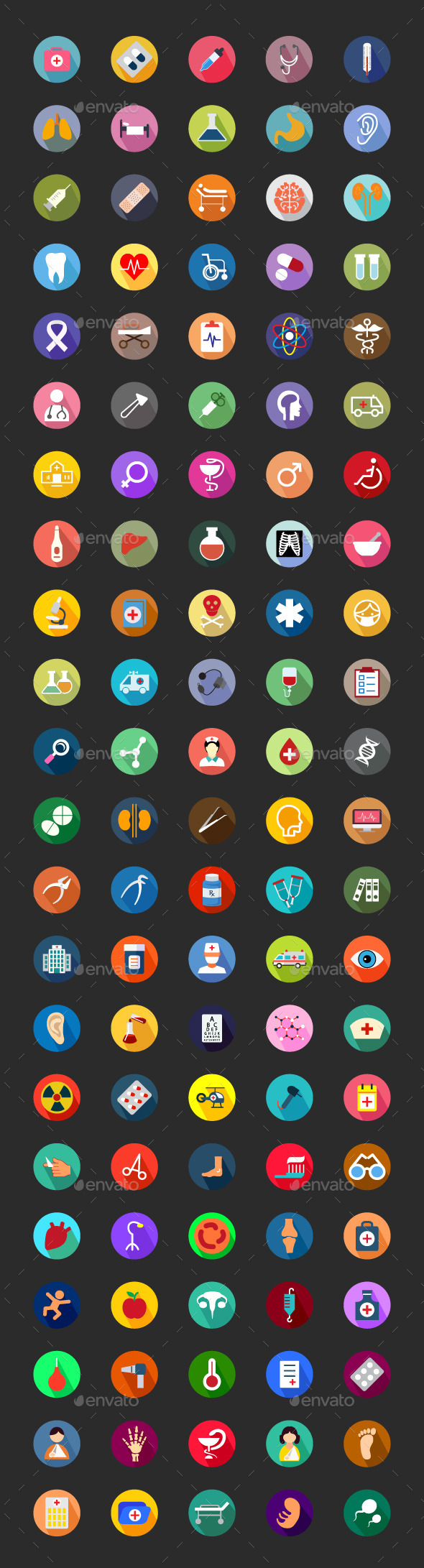 GraphicRiver 100& Medical Flat Color Icon Set 9774782