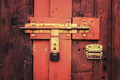 Retro vintage style picture of wooden door with lock. - PhotoDune Item for Sale