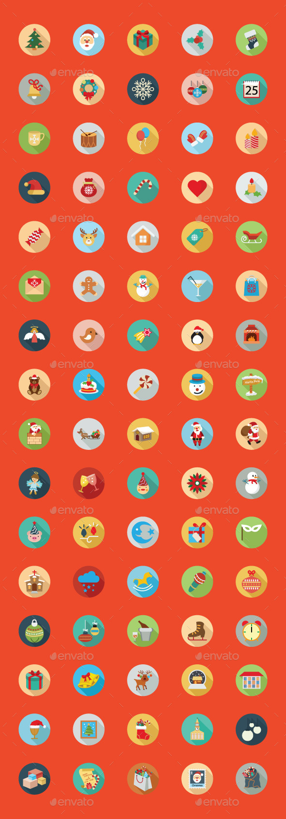 GraphicRiver 80 Christmas Flat Color Icon Set 9774838