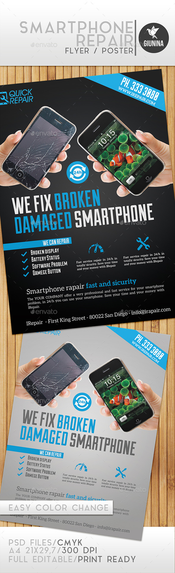 GraphicRiver Smartphone Repair Flyer Poster 9774892