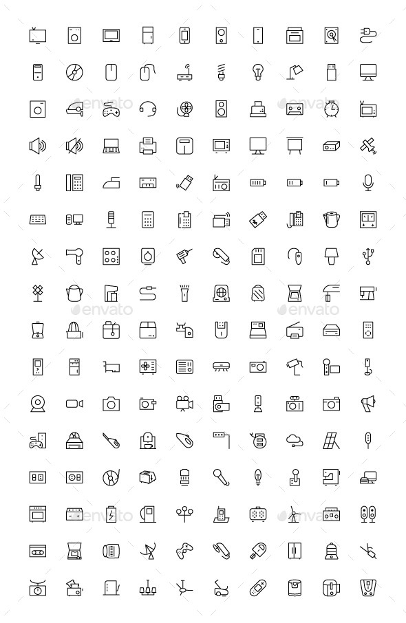 GraphicRiver 150& Electronic Icons 9774957