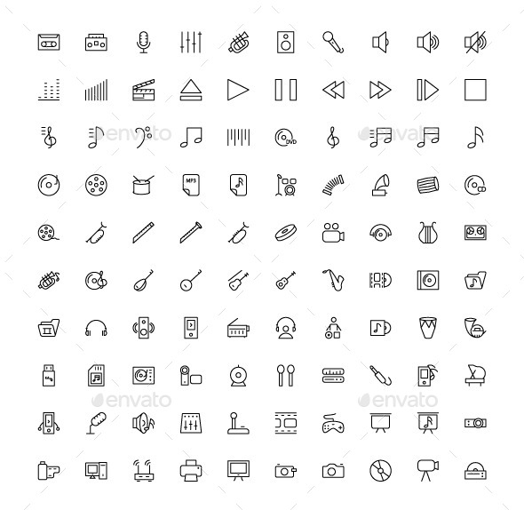 GraphicRiver 100 Music and Multimedia Icons 9775120