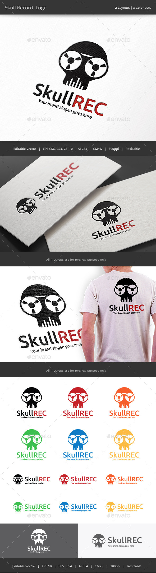 GraphicRiver Skull Record Logo 9775210