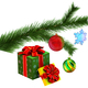 Christmas tree fir branch with gifts - PhotoDune Item for Sale