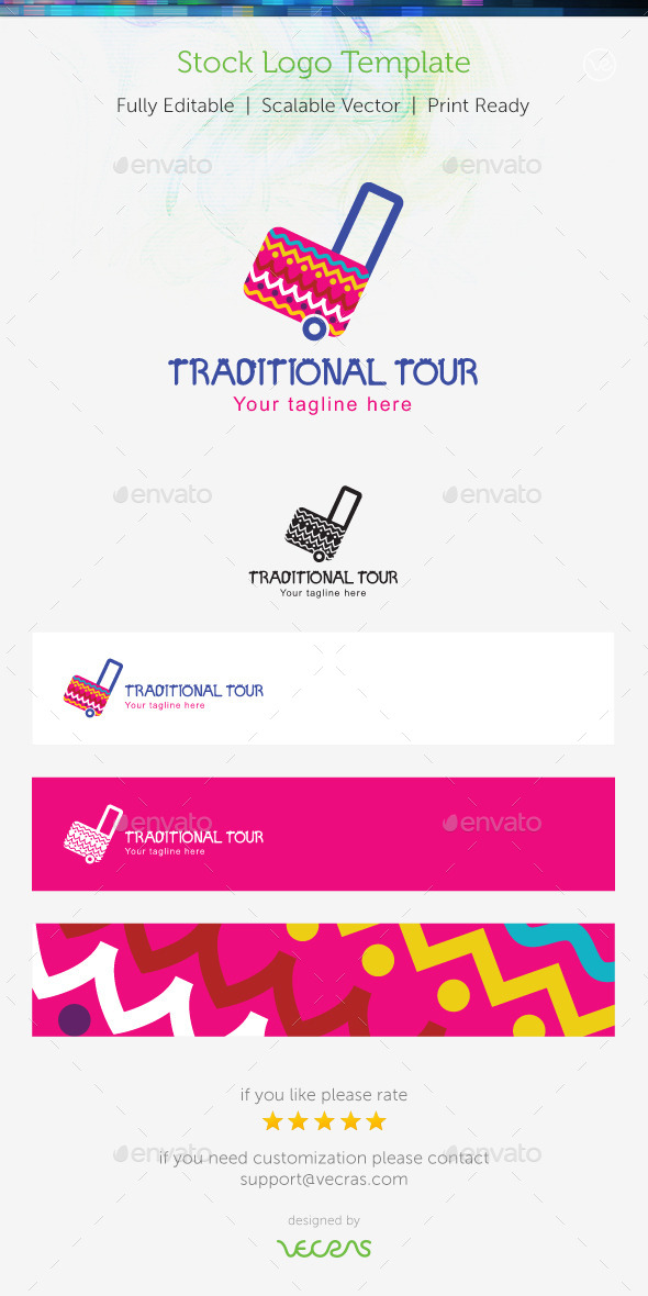 GraphicRiver Traditional Tour Stock Logo Template 9776818