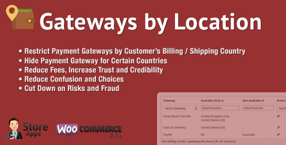 WooCommerce Gateways by Location - CodeCanyon Item for Sale