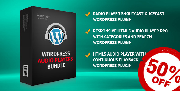 It contains 3 WordPress plugins which covers a vast versions of audio players, from a simple MP3 player to a complex ShoutCast/IceCast radio player. &nb