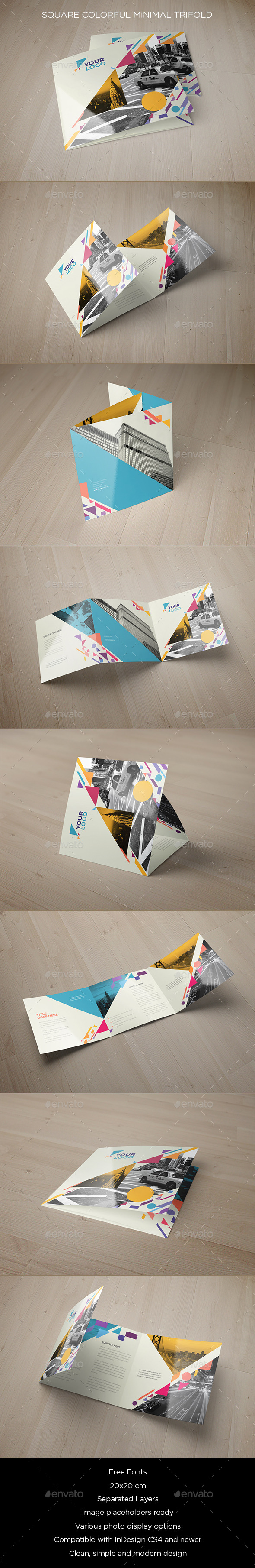 GraphicRiver Square Colorful Shapes Trifold 9778409