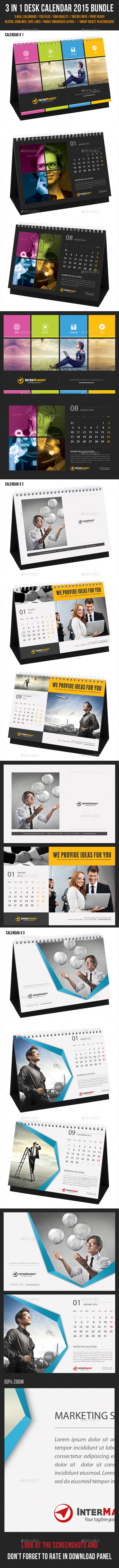 GraphicRiver 3 in 1 Corporate Desk Calendar 2015 Bundle 9721978