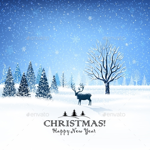 GraphicRiver Christmas Card with Reindeer 9778568