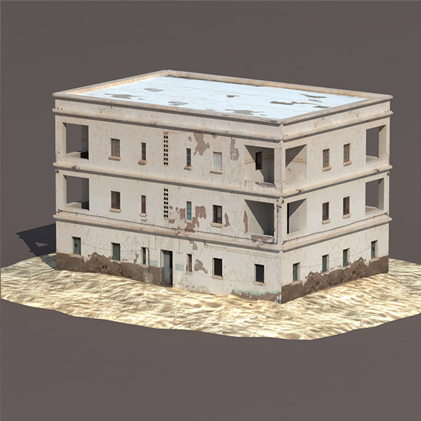 Derelict House #132 Low Poly 3d Model - 3DOcean Item for Sale