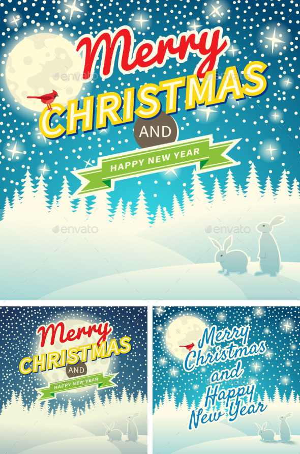 Set of Three Christmas Retro Greeting Cards