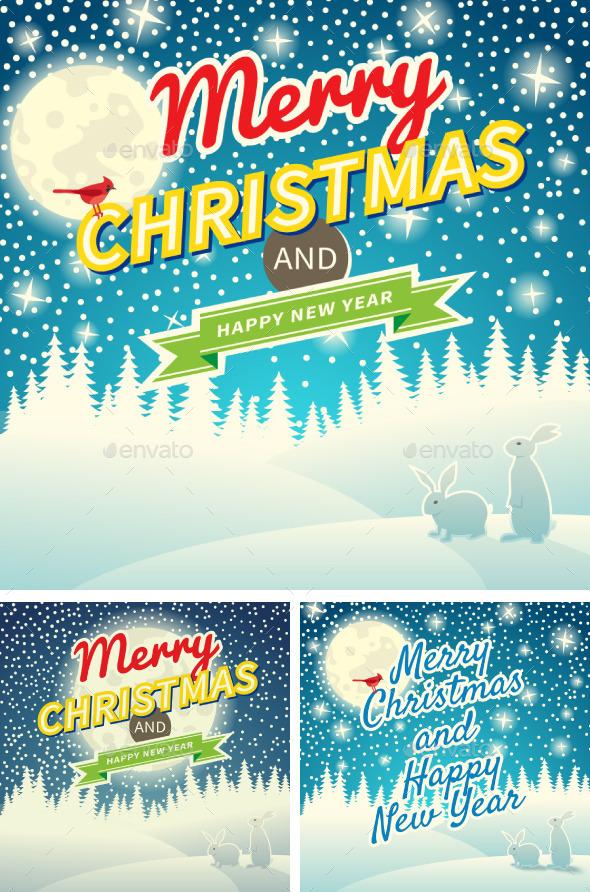 GraphicRiver Set of Three Christmas Retro Greeting Cards 9682382