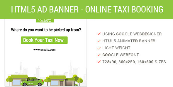 CodeCanyon Book Online Taxi HTML5 Animated AD 9778877