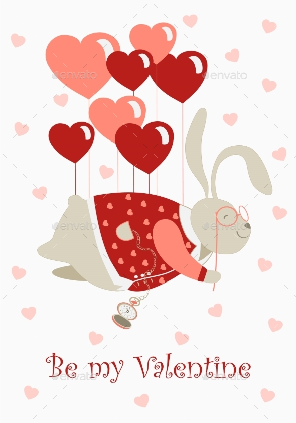 GraphicRiver Rabbit with Heart Balloons 9779245