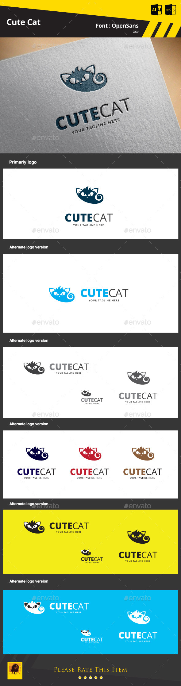 Cute Cat Logo Template