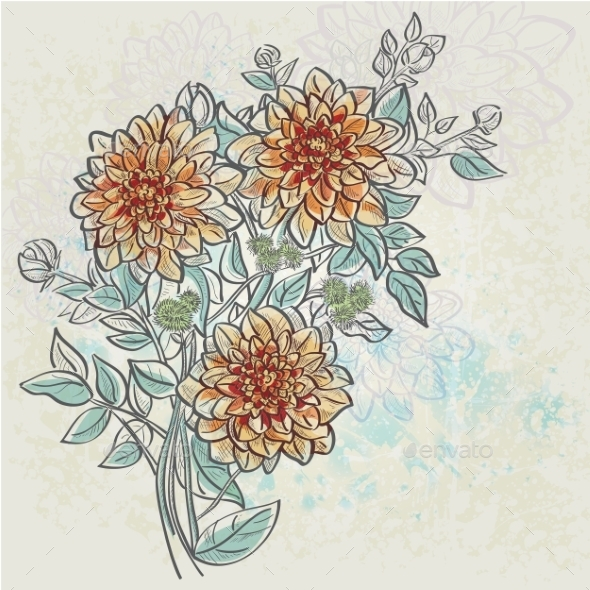 GraphicRiver Vintage Background with Flowers 9779590