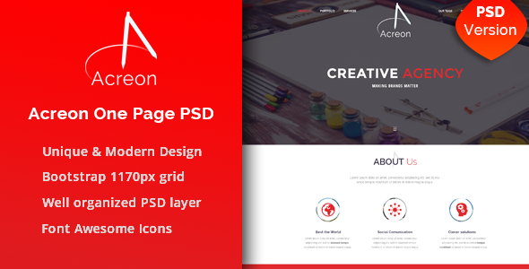ThemeForest Acreon PSD Template 9779733