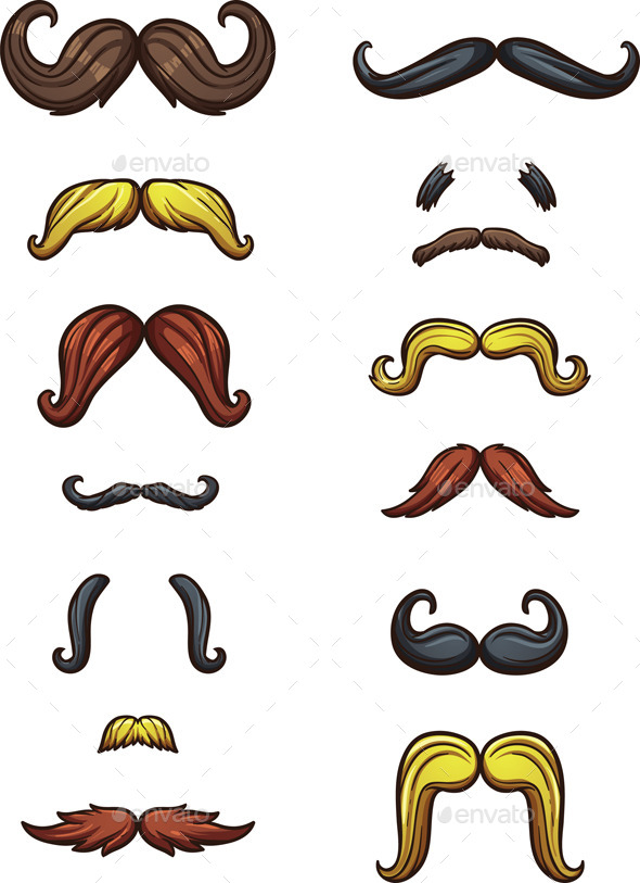 GraphicRiver Cartoon Mustaches 9779755