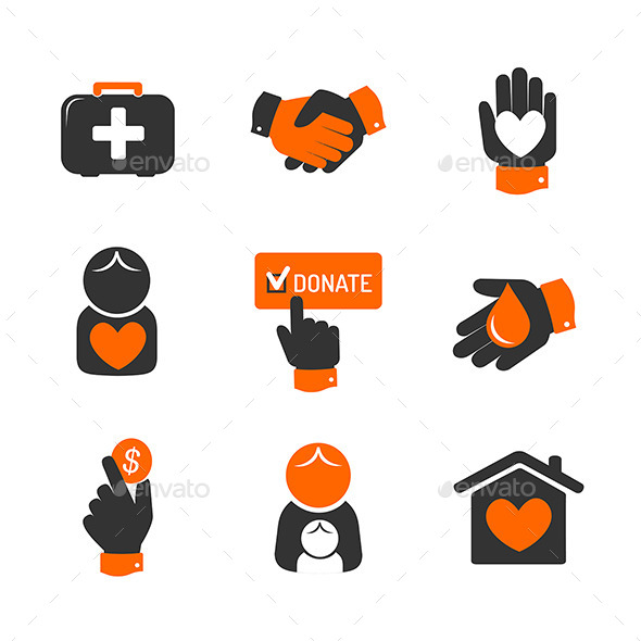 GraphicRiver Charity and Donation Icons 9779961