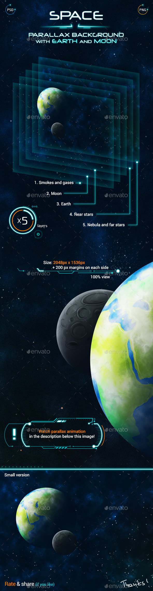GraphicRiver Space Parallax Background with Earth and Moon 9779964