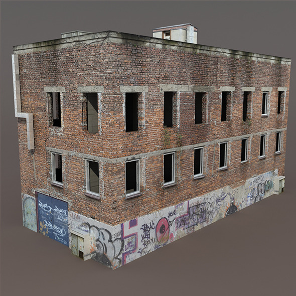 Old Factory Ruin Low Poly 3d Model - 3DOcean Item for Sale