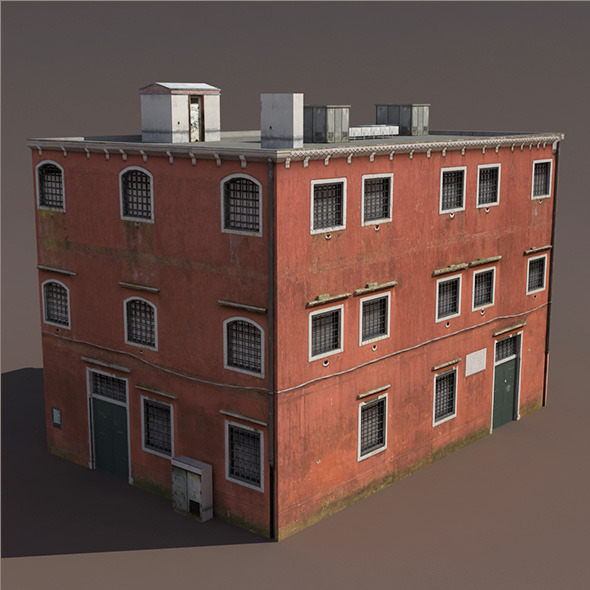 3DOcean Prison Building Low Poly 3D Model 9780005