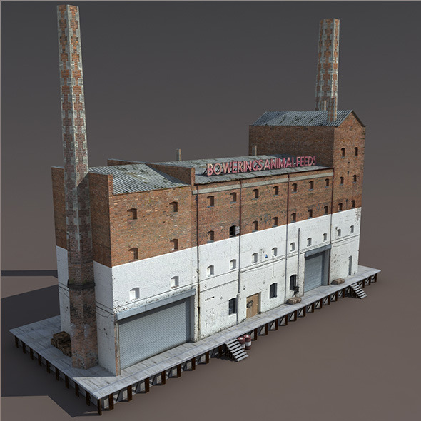 3DOcean Abandoned Old Factory Low Poly 3D Model 9780049