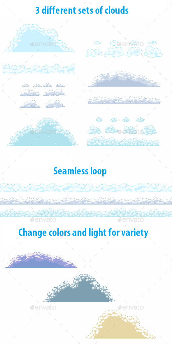 GraphicRiver Pixel Cloud Set 9781158