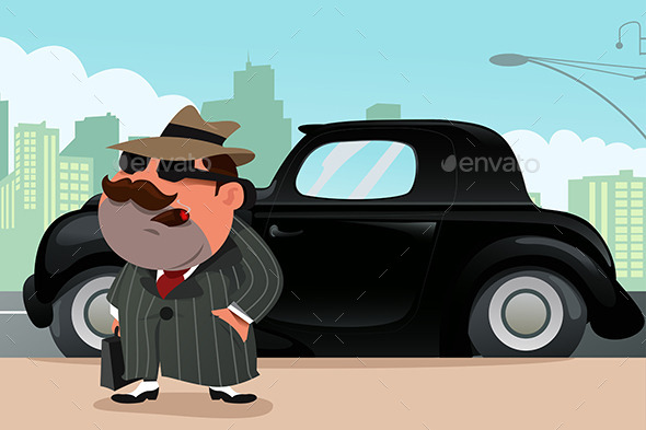 GraphicRiver Man Standing in Front of His Car 9781743