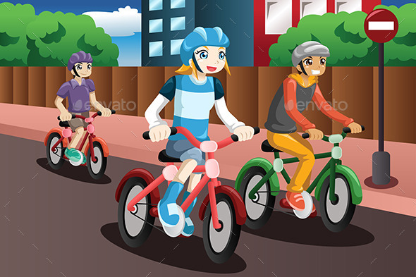 GraphicRiver Kids Riding Bikes 9782062