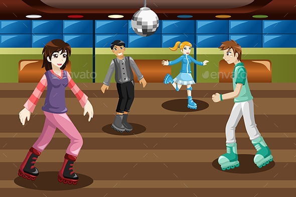 GraphicRiver Teenagers Roller Skating in an Indoor Arena 9782070
