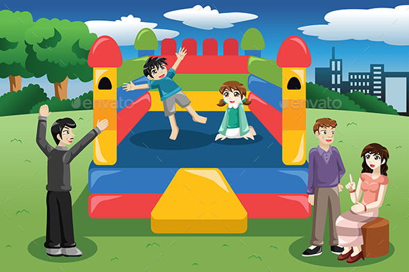 GraphicRiver Kids Playing in a Bouncy House 9782076