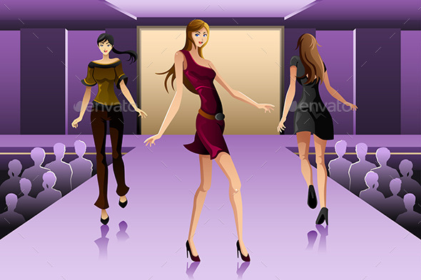 GraphicRiver Supermodels Walking on a Runway Show 9782252
