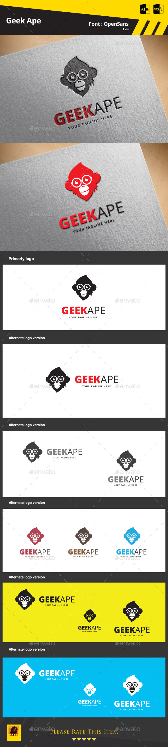 GraphicRiver Geek Ape Logo Template 9783479