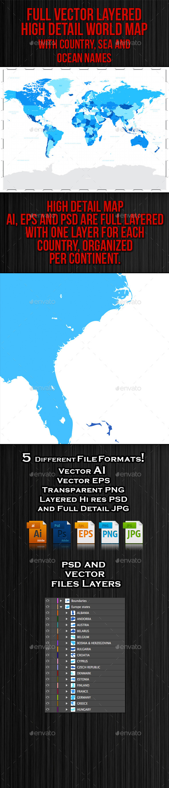 GraphicRiver High Detail Blue World Map 9783509