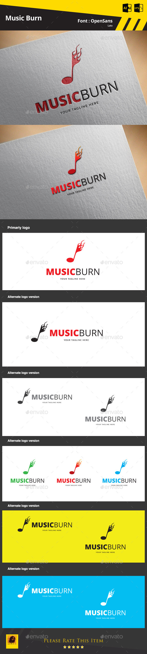 GraphicRiver Music Burn Logo Template 9783907