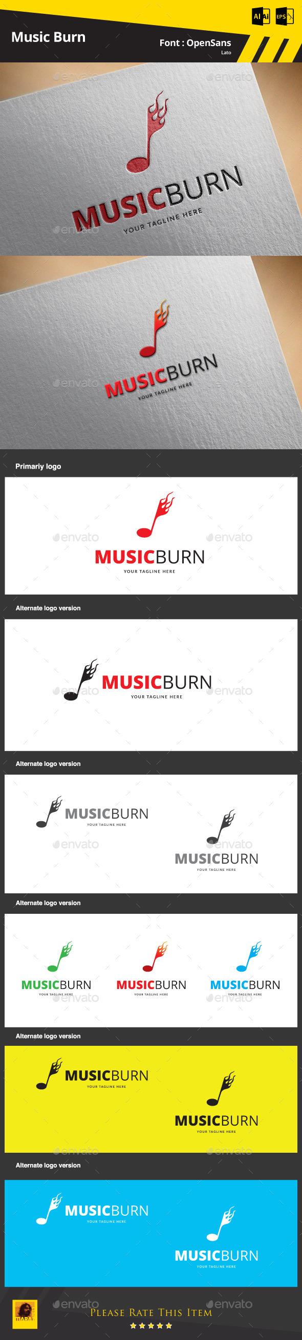 Music Burn  Logo Template