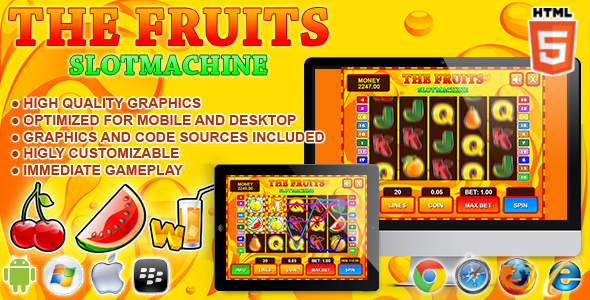 Slot Machine The Fruits - Casino HTML5 Game  - CodeCanyon Item for Sale