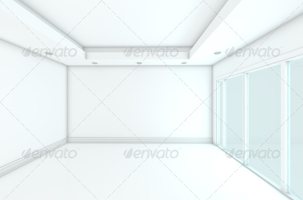 Empty Room decorated color wall with glass doors  - Stock Photo - Images