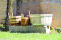 Wooden buckets and tubs in the courtyard of fortresses Guaita on - PhotoDune Item for Sale