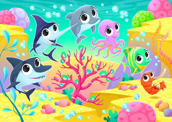 GraphicRiver Marine Animals Under the Sea 9784673