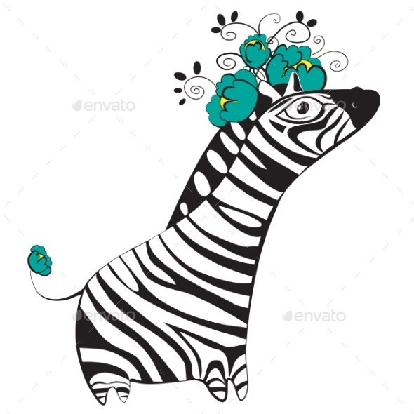 GraphicRiver Zebra with Flowers 9785153