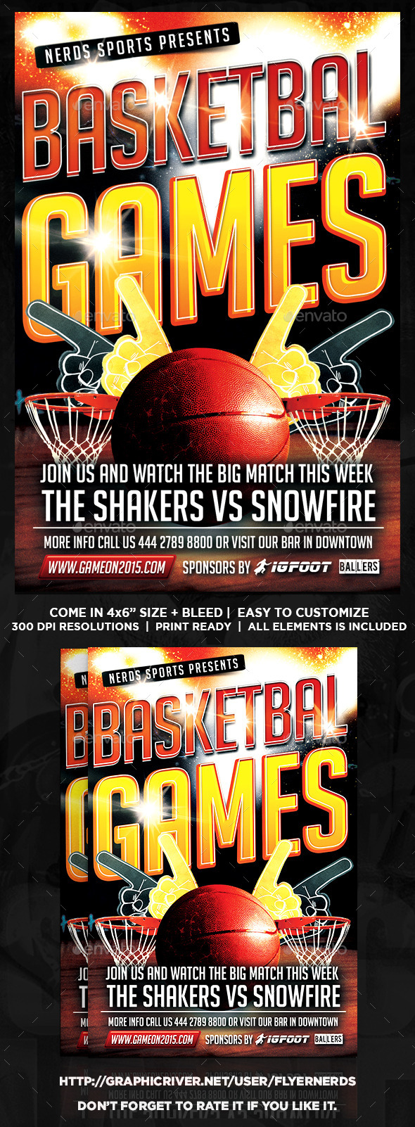 Game On Basketball Sports Flyer