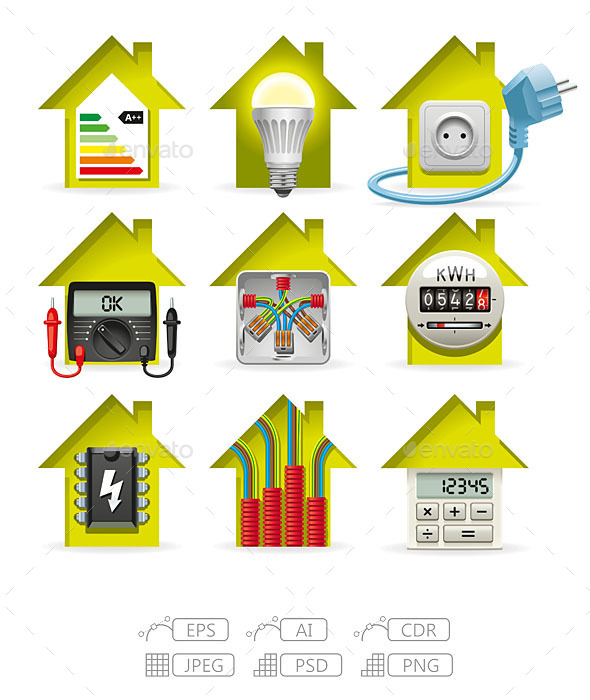 GraphicRiver Electricity Home Icons 9785896