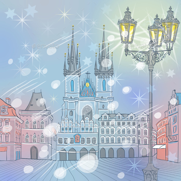 GraphicRiver Winter Old Town Square in Prague 9785897