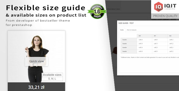 CodeCanyon Flexible size guide chart & sizes on product list 9785987